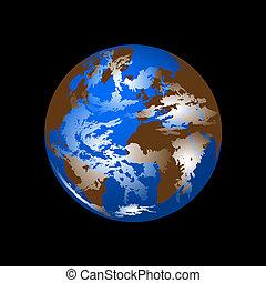 terre planète, vecteur, espace
