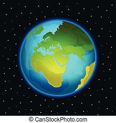 terre planète, vecteur, illustration