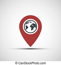 terre planète, vecteur, indicateur, icône