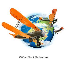 terre planète, voler, autour de, biplans