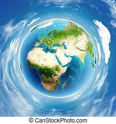 terre planète, vrai, soulagement