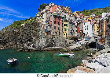 terre, port, riomaggiore, italie, cinque