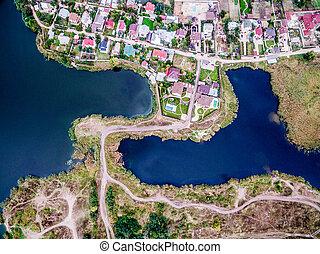 terre, roulé, lacs, morceaux, pistes, connecté, côtés