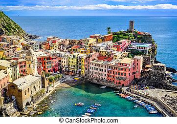 terre, vernazza, italia, colorido, puerto, escénico, océano, aldea, cinque, vista
