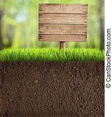 terrein, knippen, in, tuin, met, houten, meldingsbord