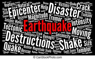 terremoto, palabra, nube, ilustración