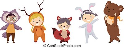 terreno boscoso, stickman, bambini, animali, costumi