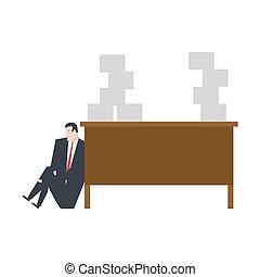 terreno, de, work., director, es, llanto, debajo, mesa., grande, pila, de, papers., triste, hombre de negocios