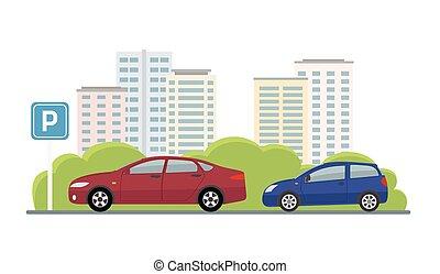 terreno, estacionamiento, coches, fondo., dos, ciudad