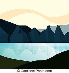 terreno montanha, natural, lago, paisagem