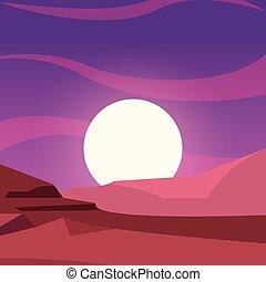 terreno montanha, natural, paisagem, lua