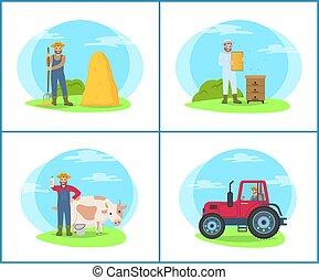 terres, ensemble, gens, illustration, vecteur, agriculture