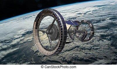 terres, fi, éléments, sci, espace, iss, sur, meublé, nasa., ceci, station, vidéo, international, orbiter, tournant, earth., atmosphere., animation., 3d