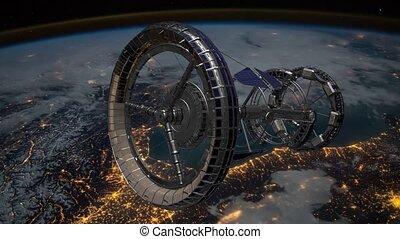 terres, fi, éléments, sci, meublé, iss, sur, espace, nasa., vaisseau spatial, ceci, station, vidéo, international, orbiter, tournant, earth., atmosphere., animation., 3d