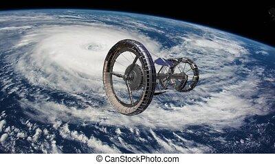 terres, fi, éléments, sci, meublé, iss, sur, espace, ouragan, nasa., vaisseau spatial, behind.., ceci, station, vidéo, international, orbiter, tournant, earth., atmosphere.