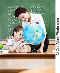 terrestre, étudier, globe, géographie