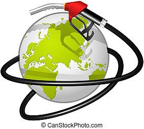 terrestre, combustível, globo, ho, obvoluted