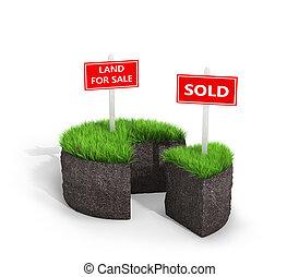terrestre, concept., 3d, illustration, terre, forme, vente, cake., herbe