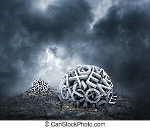 terrestre, former, aléatoire, lettres, sphère