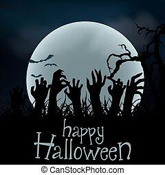 terrestre, halloween, zombi, arrière-plan., vecteur, levée, distribuere