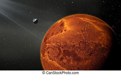 terrestre, luna, pianeta, come, marte