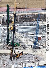 terrestre, machinerie, site construction, empilage