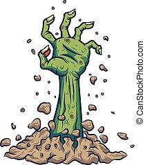 terrestre, main, dessin animé, zombi, dehors