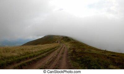 terrestre, monter, long, route, montagne