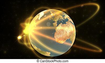 terrestre, mostrando, animação, globo