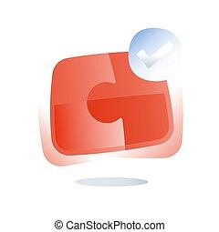 terrestre, mutuel, droit, combinaison, simple, puzzle, solution, puzzle, solutions, commun, coopération, réunir, compromis, logo