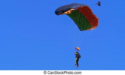 terrestre, parachutiste, parachute, voler, débarqué