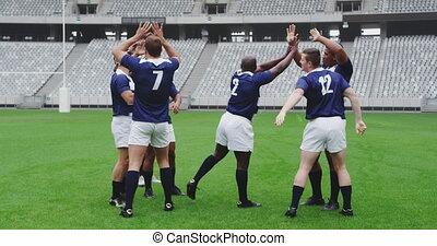 terrestre, rugby, stade, mâle, but, célébrer, joueurs, 4k