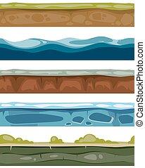 terrestre, surfaces, elements., seamless, glace, jeux ordinateur, eau, herbe, paysage