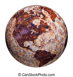 Terrestrial globe formed by corrosion stains on metal
