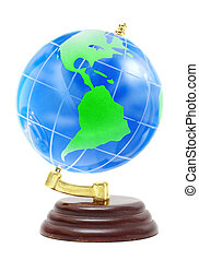 terrestrial globe on a white background