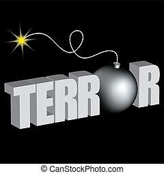 terreur, bombe, mot