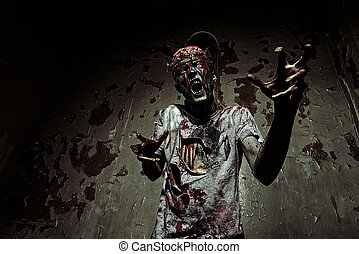 Terrible bloody zombie man  with the brains out in search of his victim.