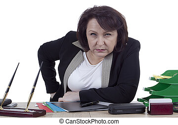 Terrible business woman at work desk
