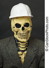Terrible dude in mask of skeleton with helmet