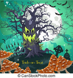 Terrible Halloween cartoon tree with a grin at midnight on...