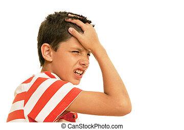 Terrible headache - A boy sturving with a headache is...