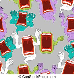 Terrible howling wraith background. Ghost seamless pattern. ...