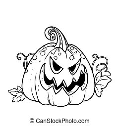 Terrible lantern from pumpkin with the cut out of grin and leaves outlined for coloring page