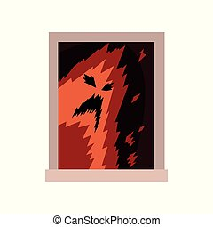 Terrible monster in window. Scary ghost silhouette with black eyes and mouth. View from the street. Exterior detail element. Halloween concept. Flat vector design
