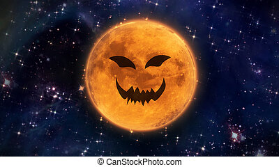 terrible pumpkin face moon in space - pumpkin face laughing...