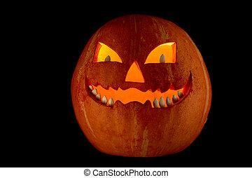 Terrible pumpkin - Photo of terrible pumpkin with grin on a...
