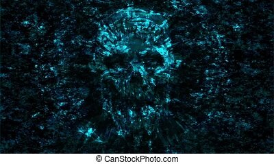 Terrible skull abstraction into small debris.Genre of...
