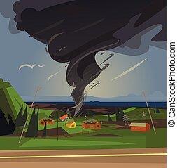 terrible, tornade, tourné, houses., vecteur, dessin animé, illustration