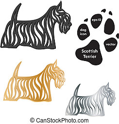 terrier escocés, icono de perro, vector, blanco, fondo.