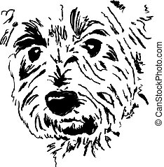 terrier face - sketchy drawing style illustration of the...